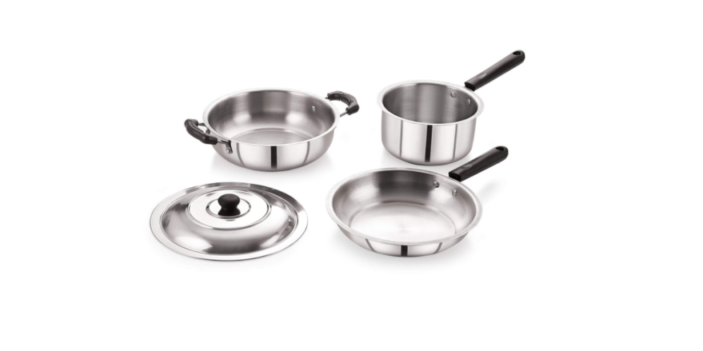 BMS Lifestyle 4-Piece Induction Friendly Stainless Steel Cookware Set