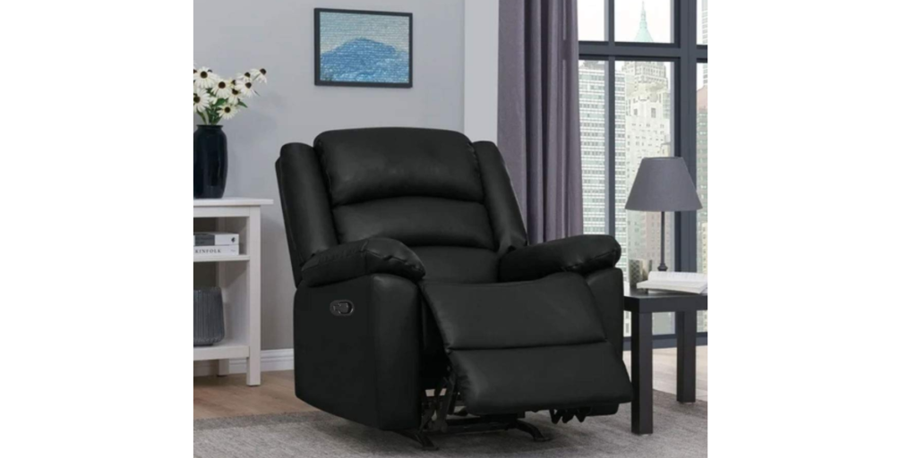 FURNY Carson 1 Seater Dried Treated Leatherette Manual with German Recliner Mechanism Sofa