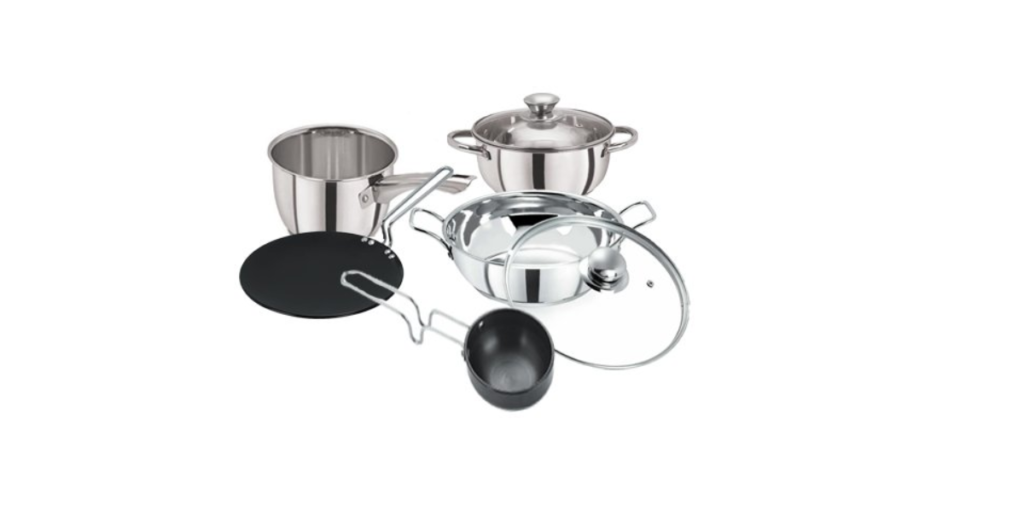 Pristine Stainless Steel Induction Base and Hard Anodised Cook and Serve Cookware Set