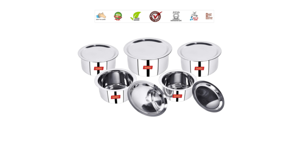 Sumeet Induction & Gas Stove Friendly Stainless Steel 5 Pcs Big Size Container Set Tope Cookware Set